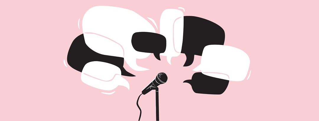 Lots of speech bubbles overlapping around a microphone