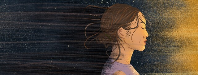 A grieving woman emerges from shadow star dust sky to bright shining beaming light.
