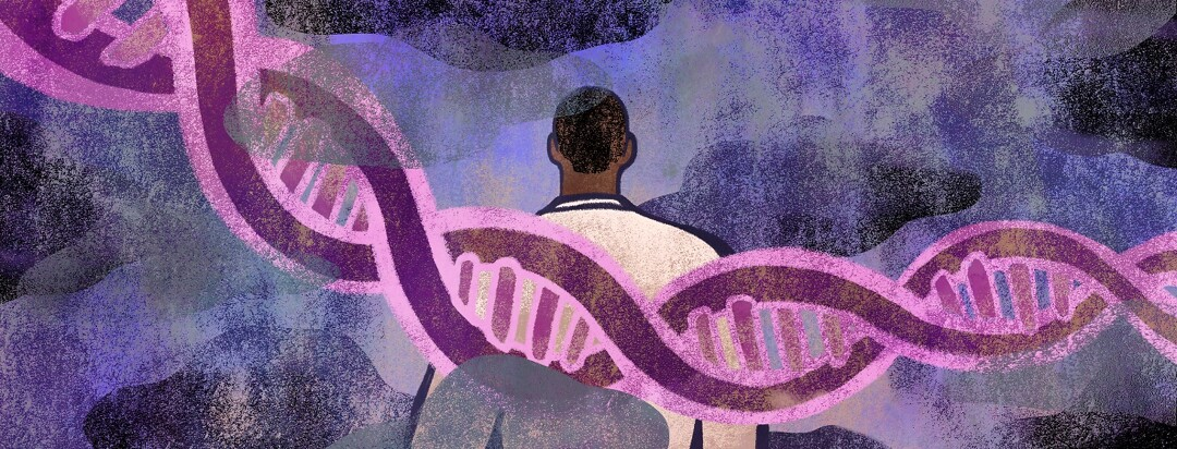 A man is overshadowed by a strand of DNA among dark clouds