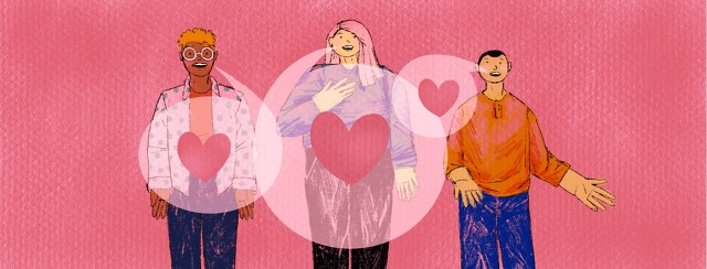 Three people speaking out are connected by overlapping speech bubbles with hearts in them.