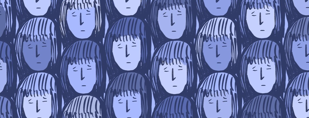 Group of women duplicated sad frowning