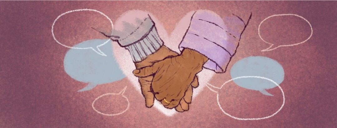 Two people hold hands inside a heart shape surrounded by speech bubbles