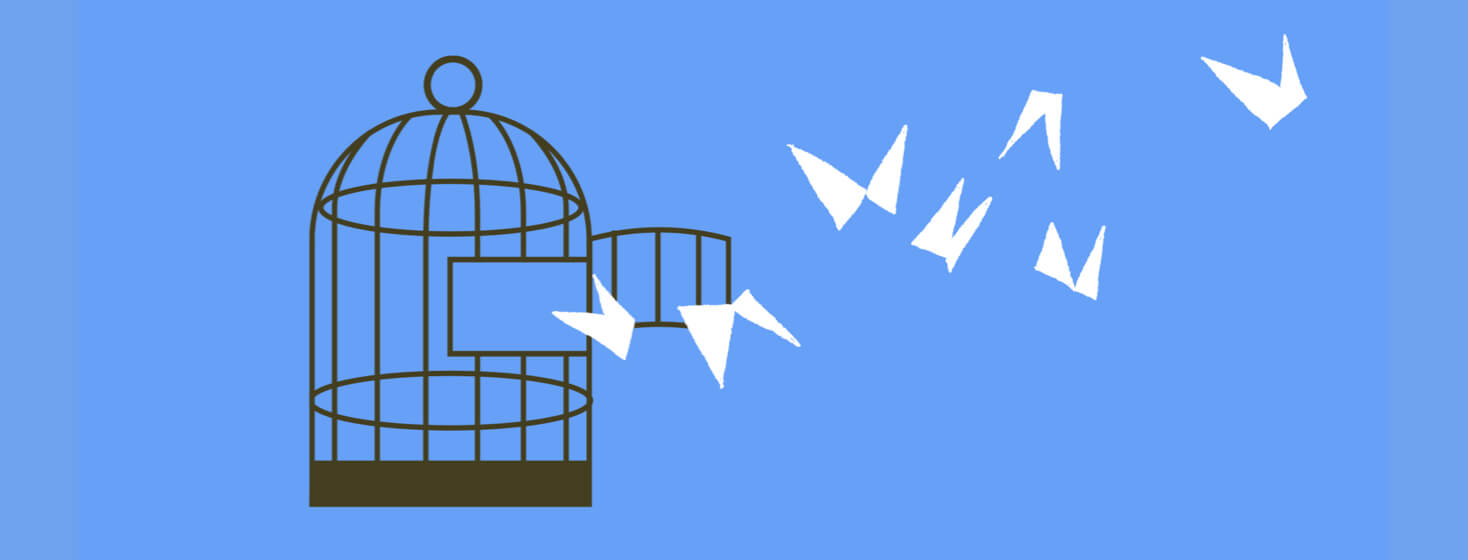 Birds being freed from a cage; taking control by being free.