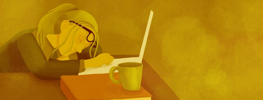 Exhausted woman sleeping at desk with laptop and coffee