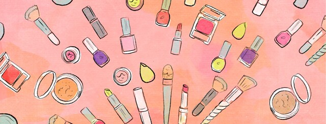 A collection of fanned out cosmetics