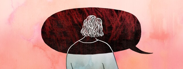A woman's head and shoulders are overlapped by a giant dark speech bubble bearing bad news
