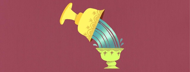 A large gold cup pours water into a smaller cup. Mentorship, mentor, mentee, giving