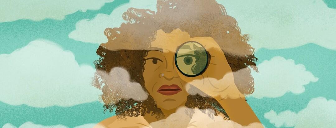 Woman stares through spyglass across fog clouds