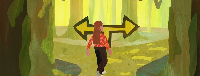 A woman comes to a fork in a swampy forest road