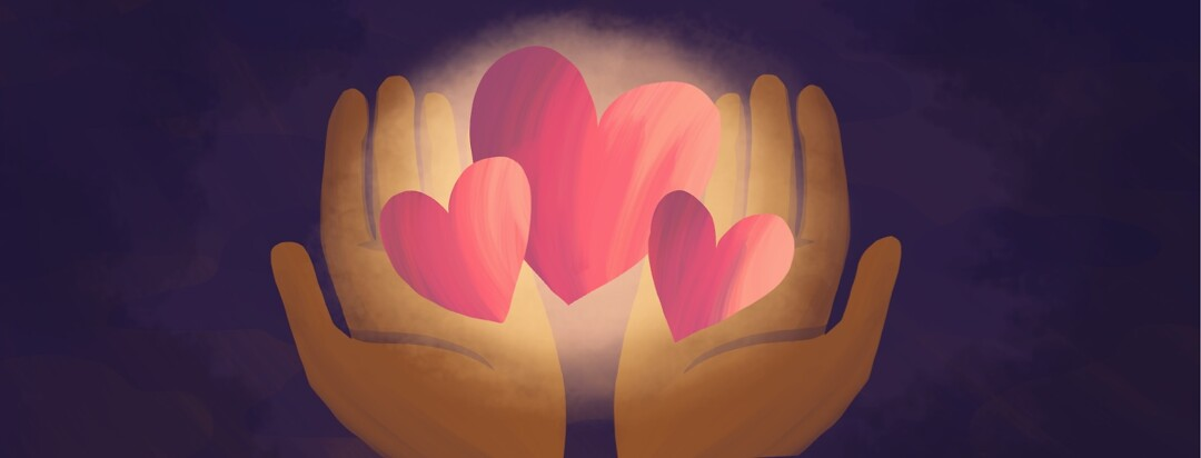 Two hands holding three glowing hearts